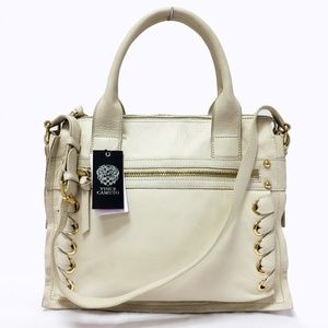 NWT Vince Camuto Mica Ivory Leather Satchel Bag